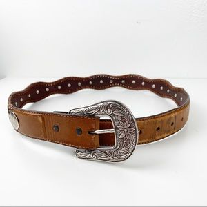 Tony Lama leather belt with silver medallions